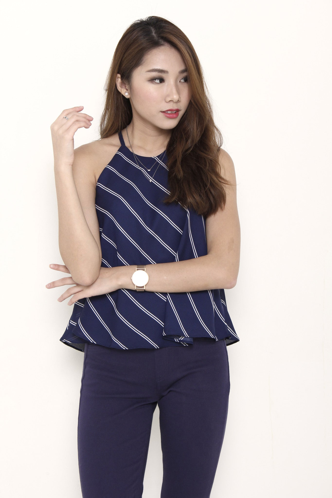 Isa Stripe Cut In Flare Top in Blue