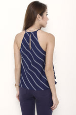 Load image into Gallery viewer, Isa Stripe Cut In Flare Top in Blue