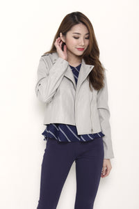 Mel Leather Biker Jacket in Grey