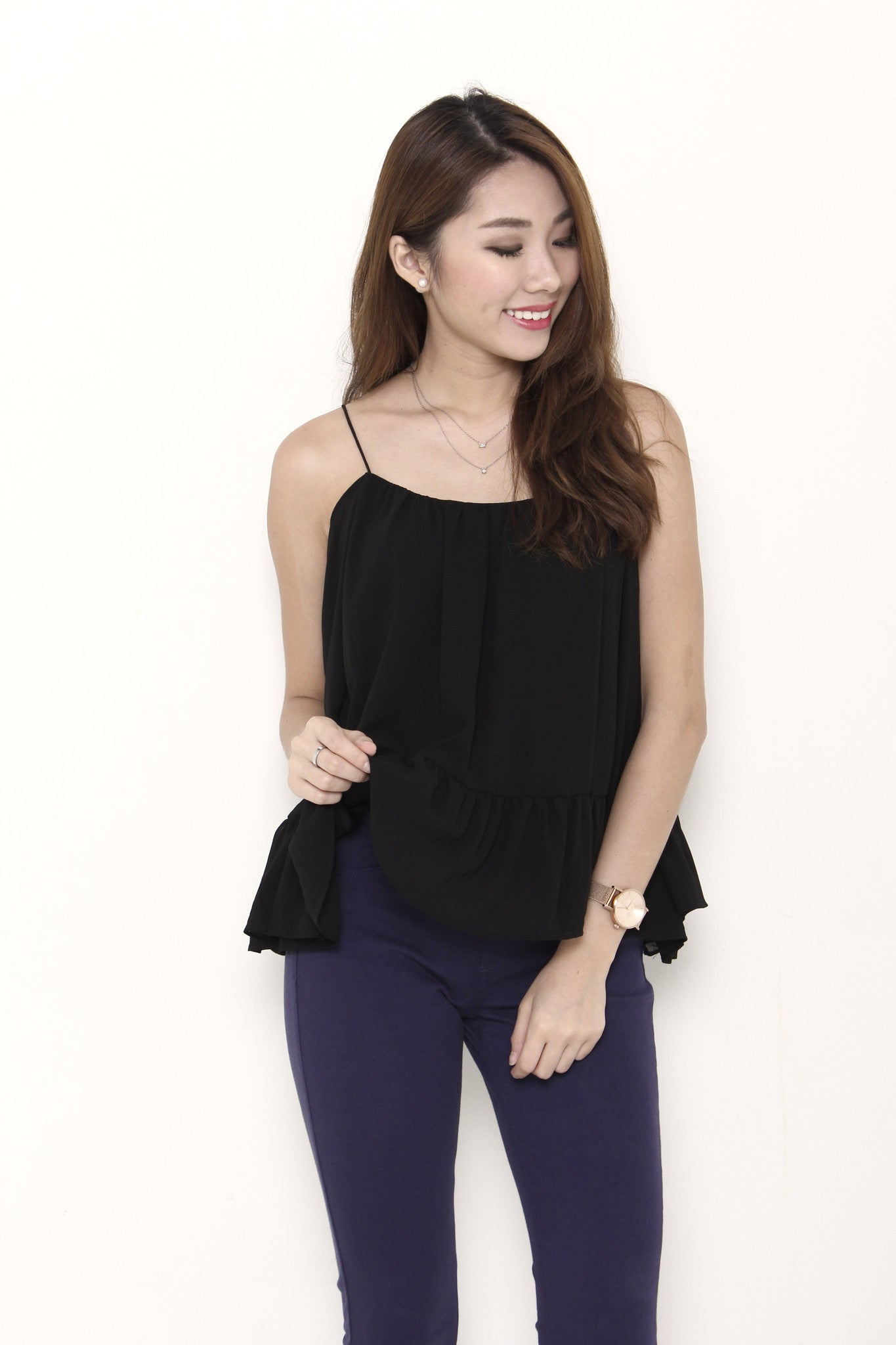 Coco Flutter Sleeve Top in Black
