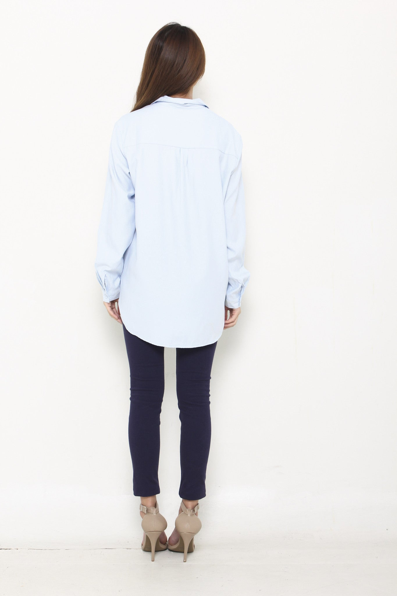 Mindy Plain Shirt in Light Blue