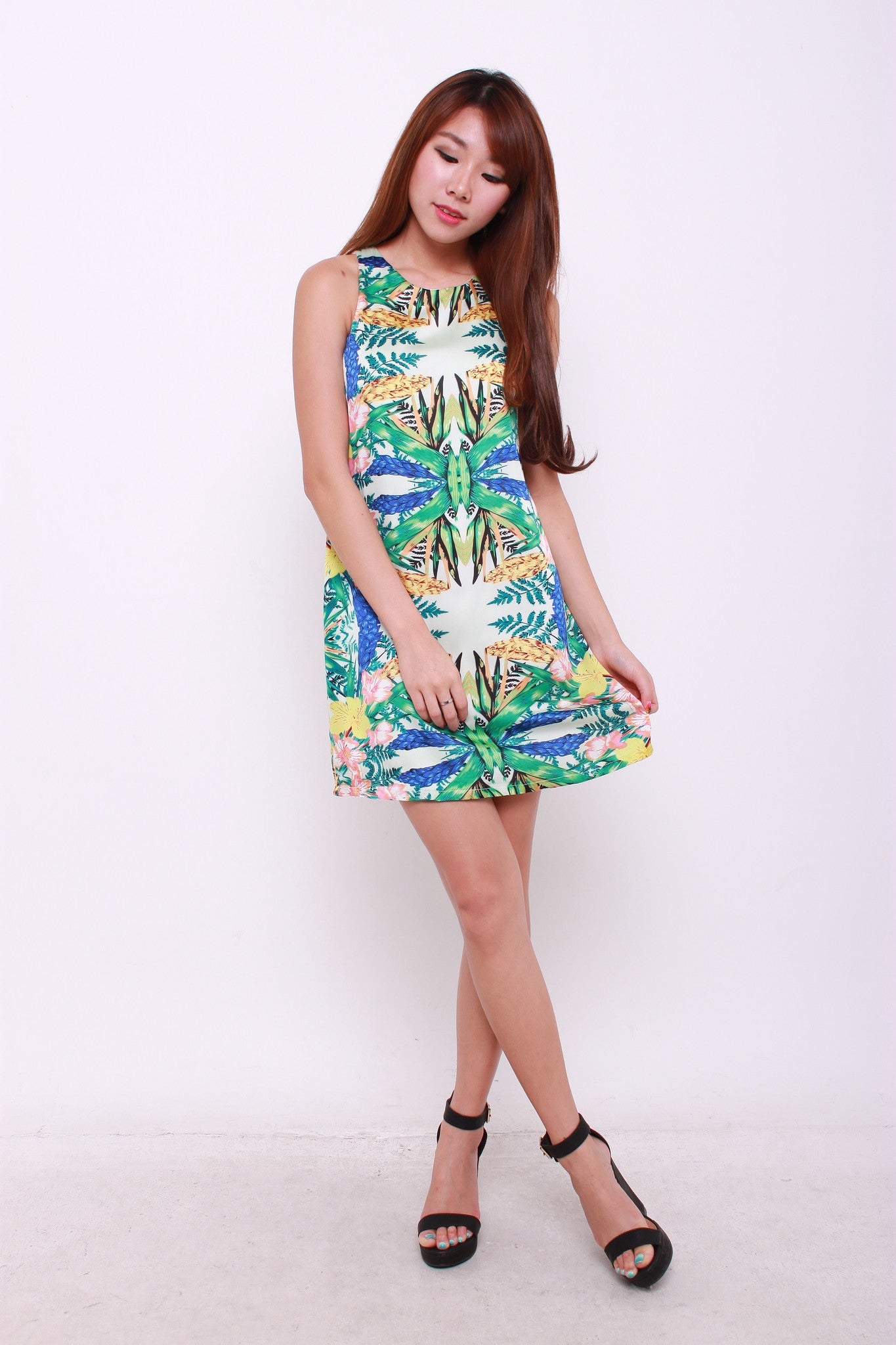 *RESTOCKS* Bambi Symmetrical Floral Shift Dress in Yellow