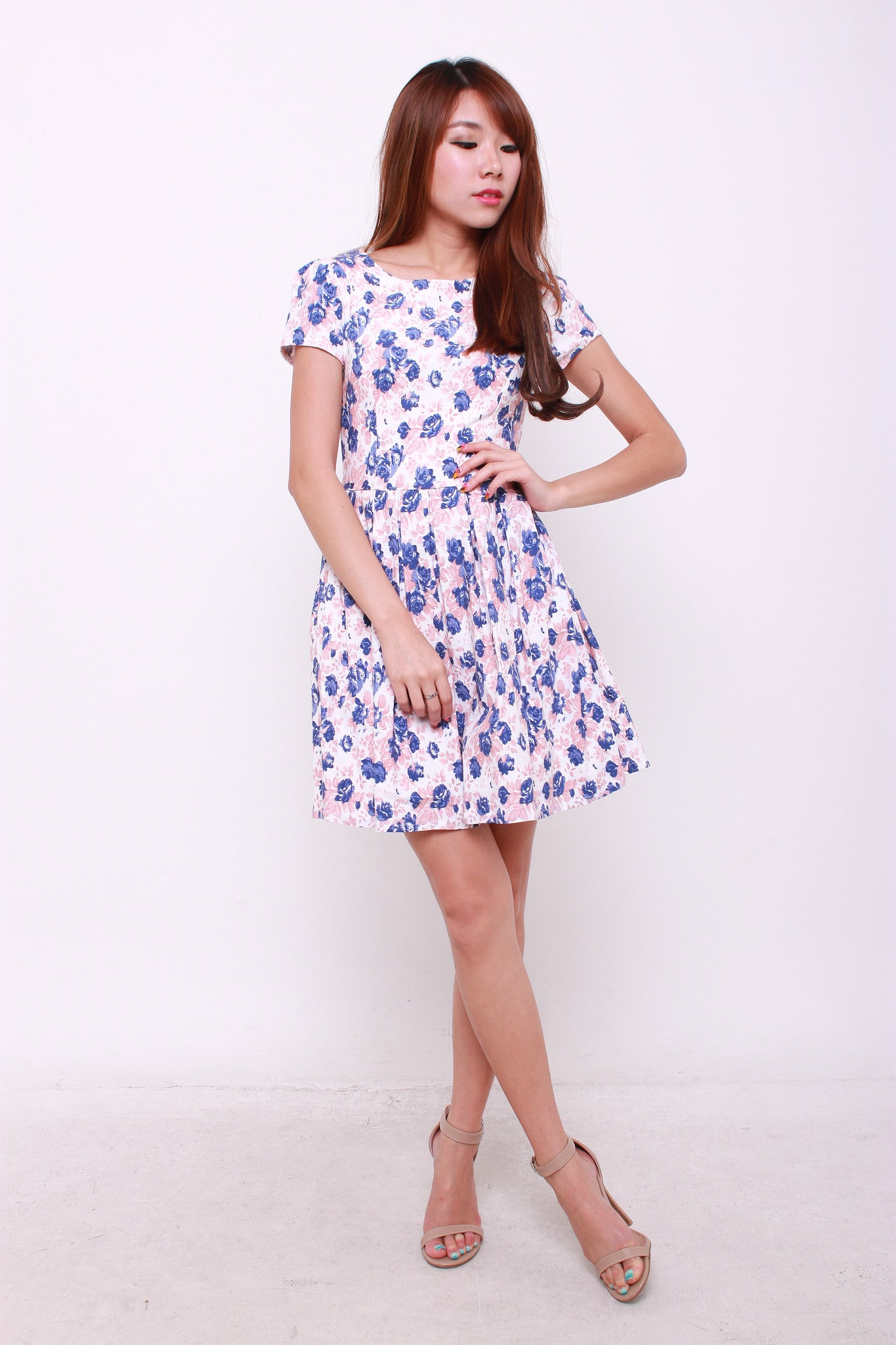 Wilma Floral Skater Dress in Peach/Blue