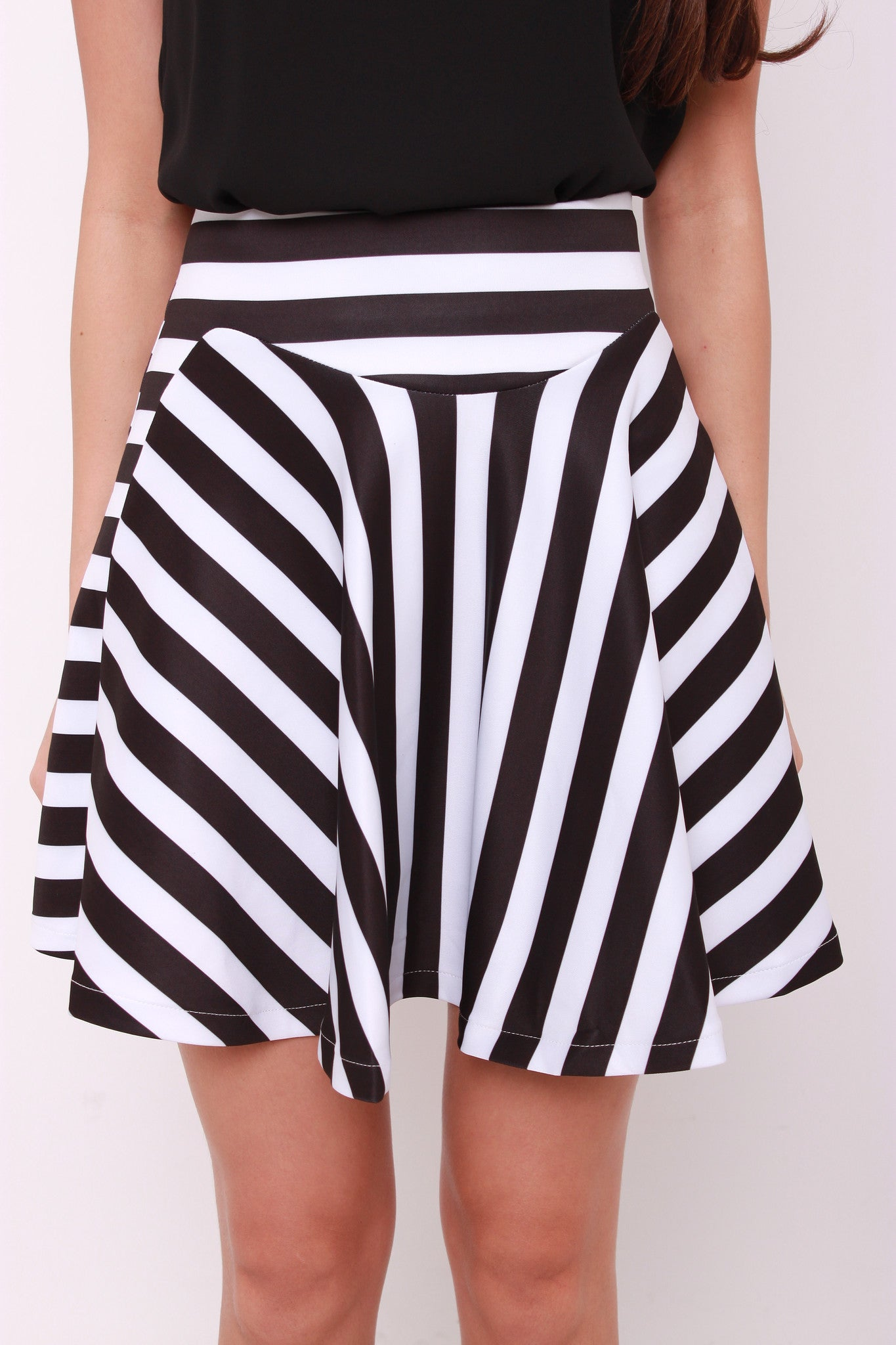 Emma Stripe Trumpet Skirt in Black