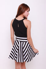Load image into Gallery viewer, Emma Stripe Trumpet Skirt in Black