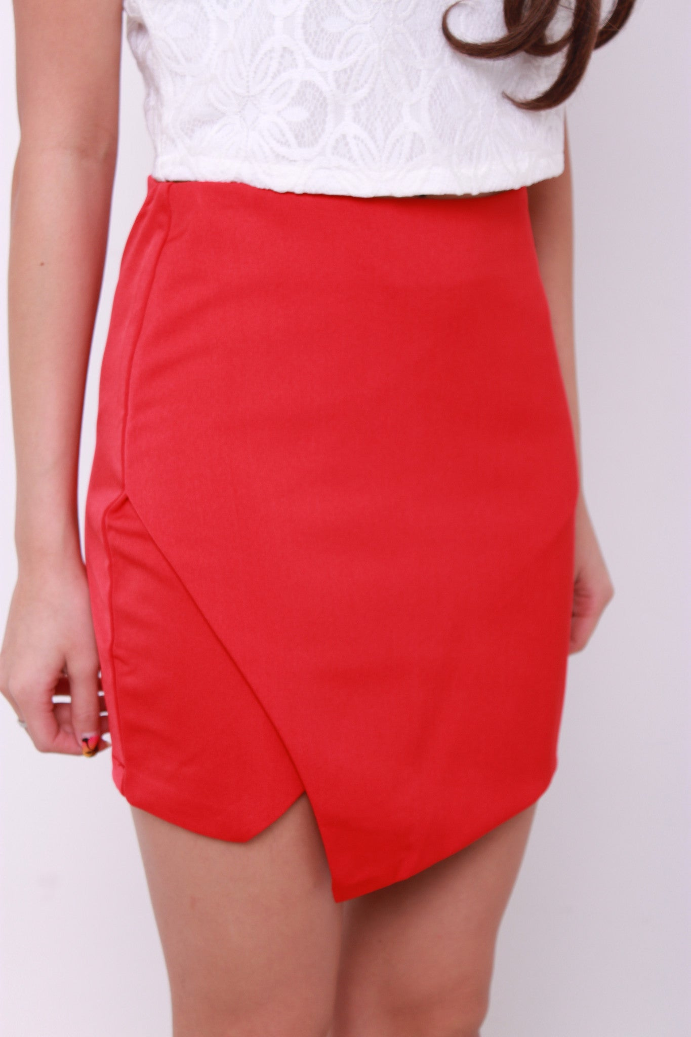 Xena Asymmetrical Slit Skirt in Red