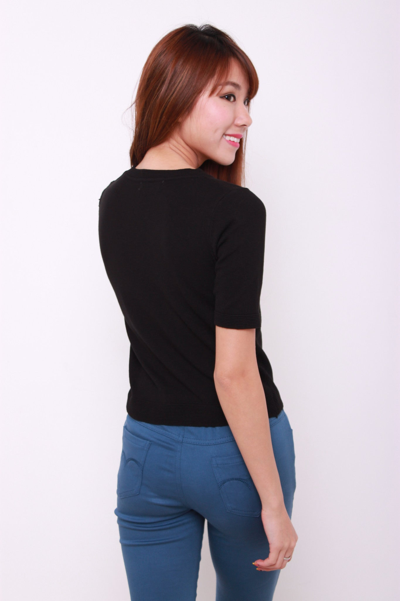 Gwen Knit Crop Top in Black
