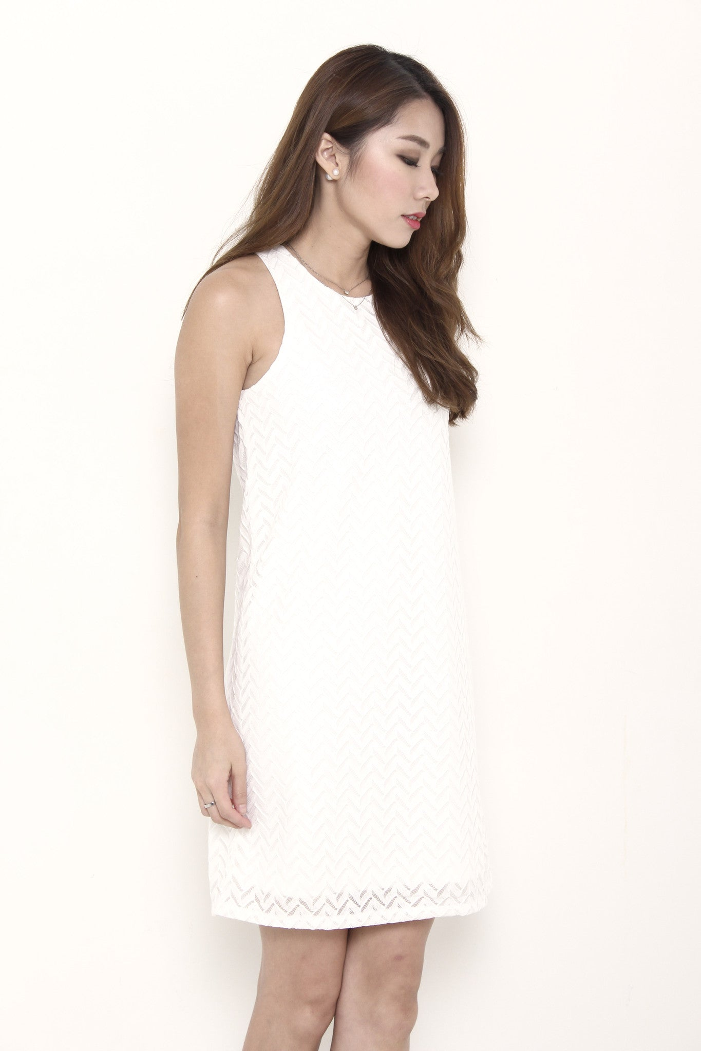 Aztec Lace Shift Dress in White