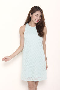 Aztec Lace Shift Dress in Mint