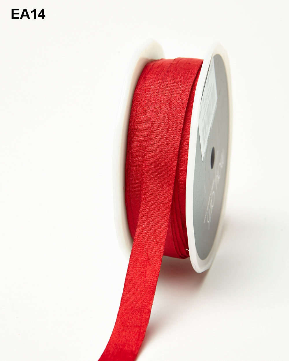 "Red 1/2"" Wrinkled Faux Silk Ribbon with Cut Edge"