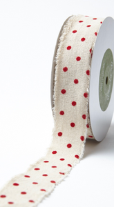 1.5 Inch Velvet Polka Dot Cotton Ribbon with Frayed Edge - Natural with Red Dots - ONE YARD