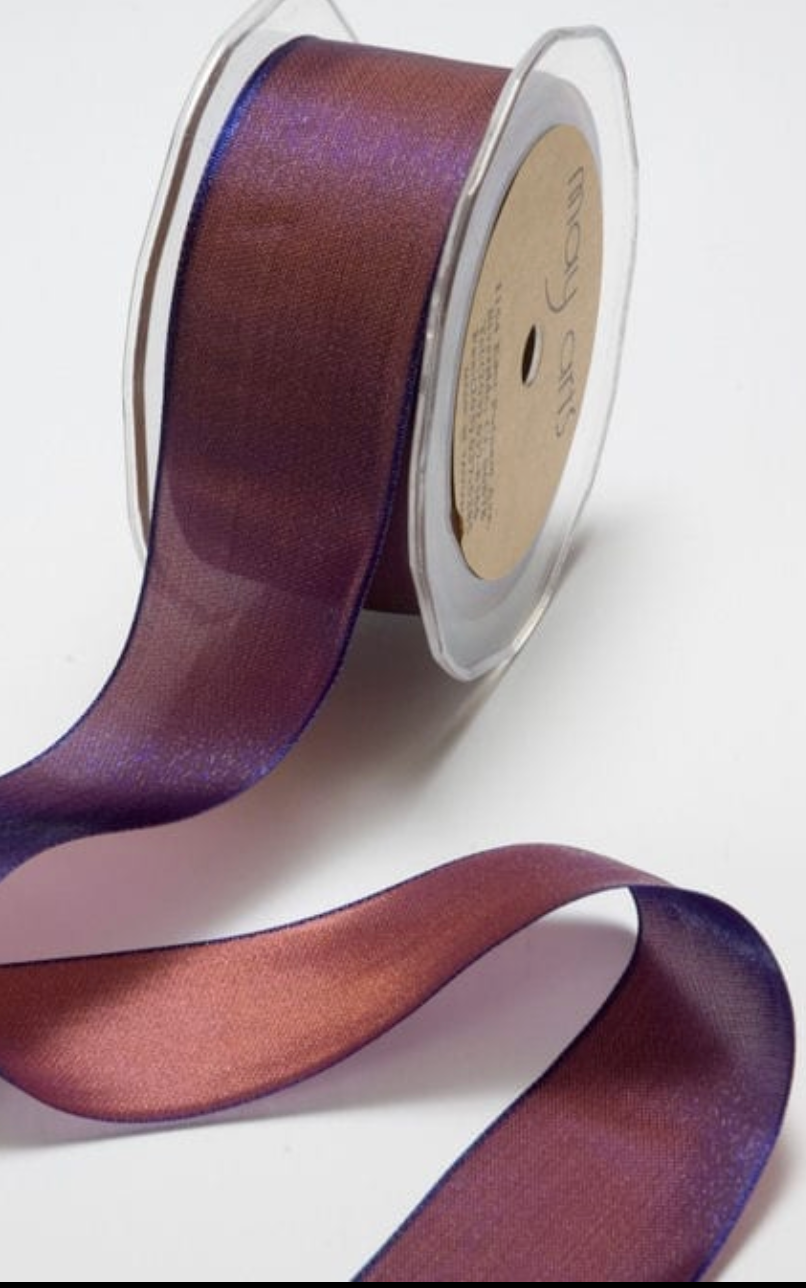 1/4 Inch Woven Iridescent Ribbon - Royal Blue and Copper - ONE YARD