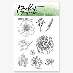 Picket Fence Beautiful Girl Flower Stamp Set