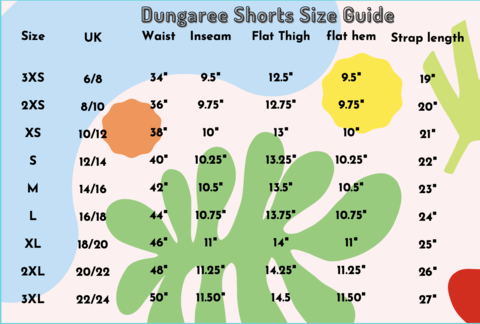 Run & Fly Short Dungarees Size Chart from Indie Edinburgh