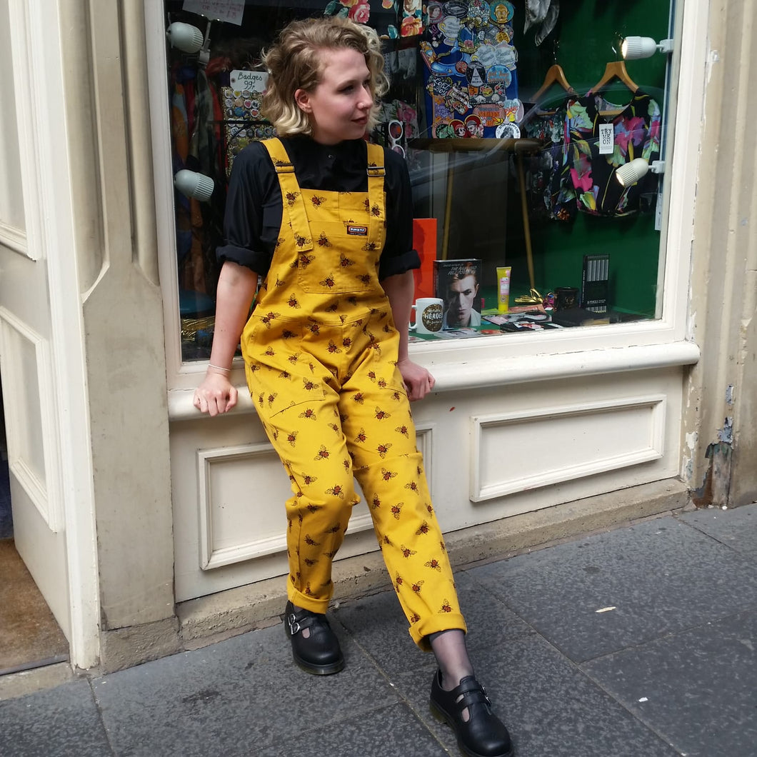 Run & Fly Bumble Bee Twill Dungarees available from Indie Edinburgh