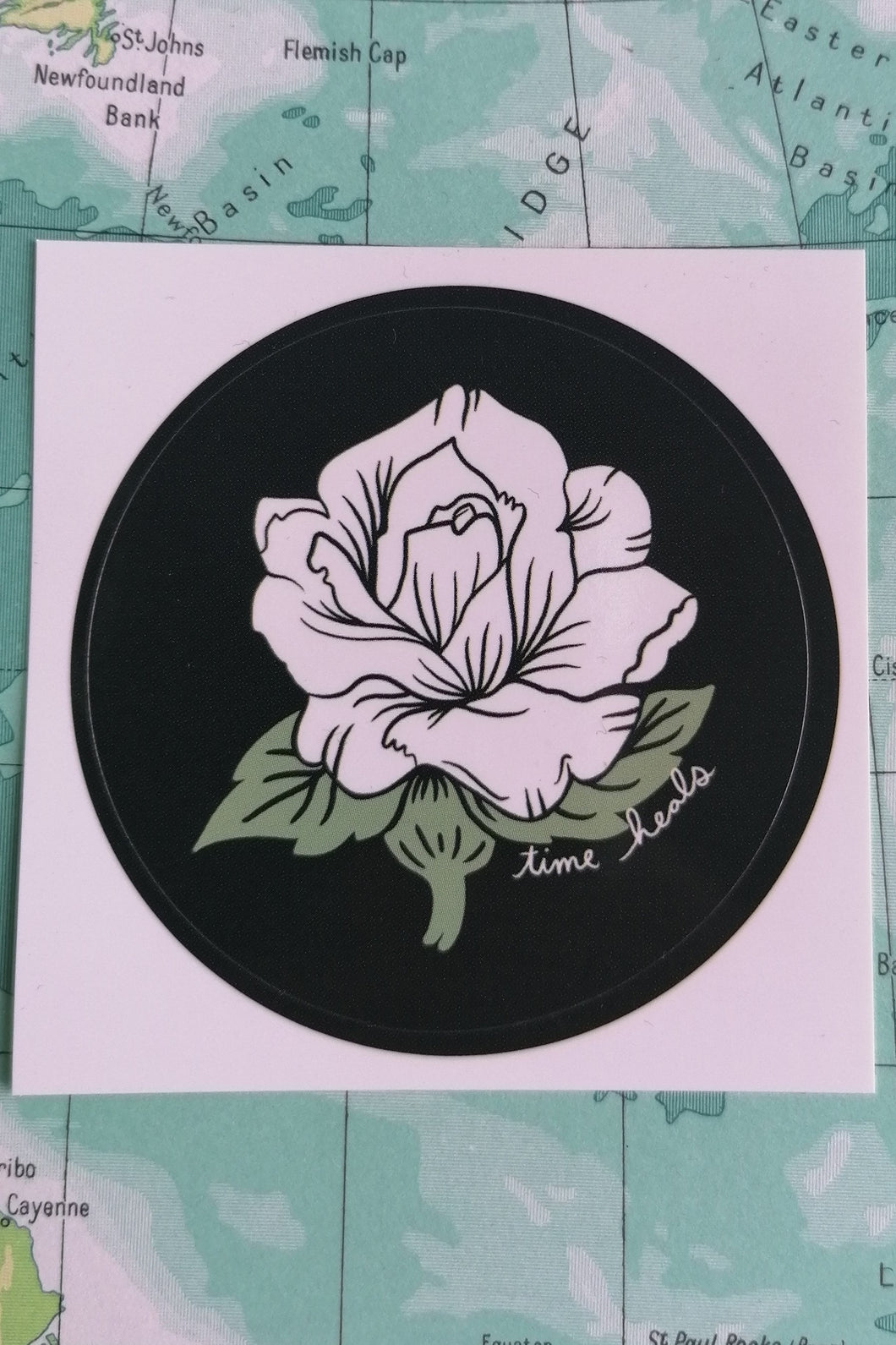 Stay Home Club Time Heals Flower Sticker from Indie Edinburgh