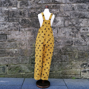 RUN & FLY CORD UNISEX DUNGAREES OVERALLS YELLOW BUMBLE BEE BACK