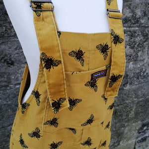 RUN & FLY CORD UNISEX DUNGAREES YELLOW BUMBLE BEE FRONT POCKET