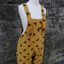 Load image into Gallery viewer, RUN & FLY CORD UNISEX DUNGAREES OVERALLS YELLOW BUMBLE BEE FRONT