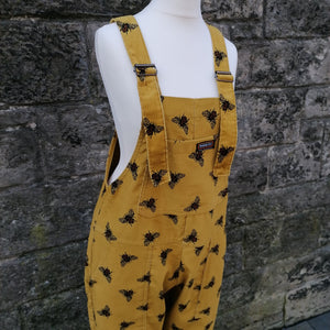 RUN & FLY CORD UNISEX DUNGAREES OVERALLS YELLOW BUMBLE BEE FRONT