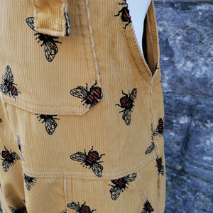 RUN & FLY CORD UNISEX DUNGAREES OVERALLS YELLOW BUMBLE BEE PRINT DETAIL