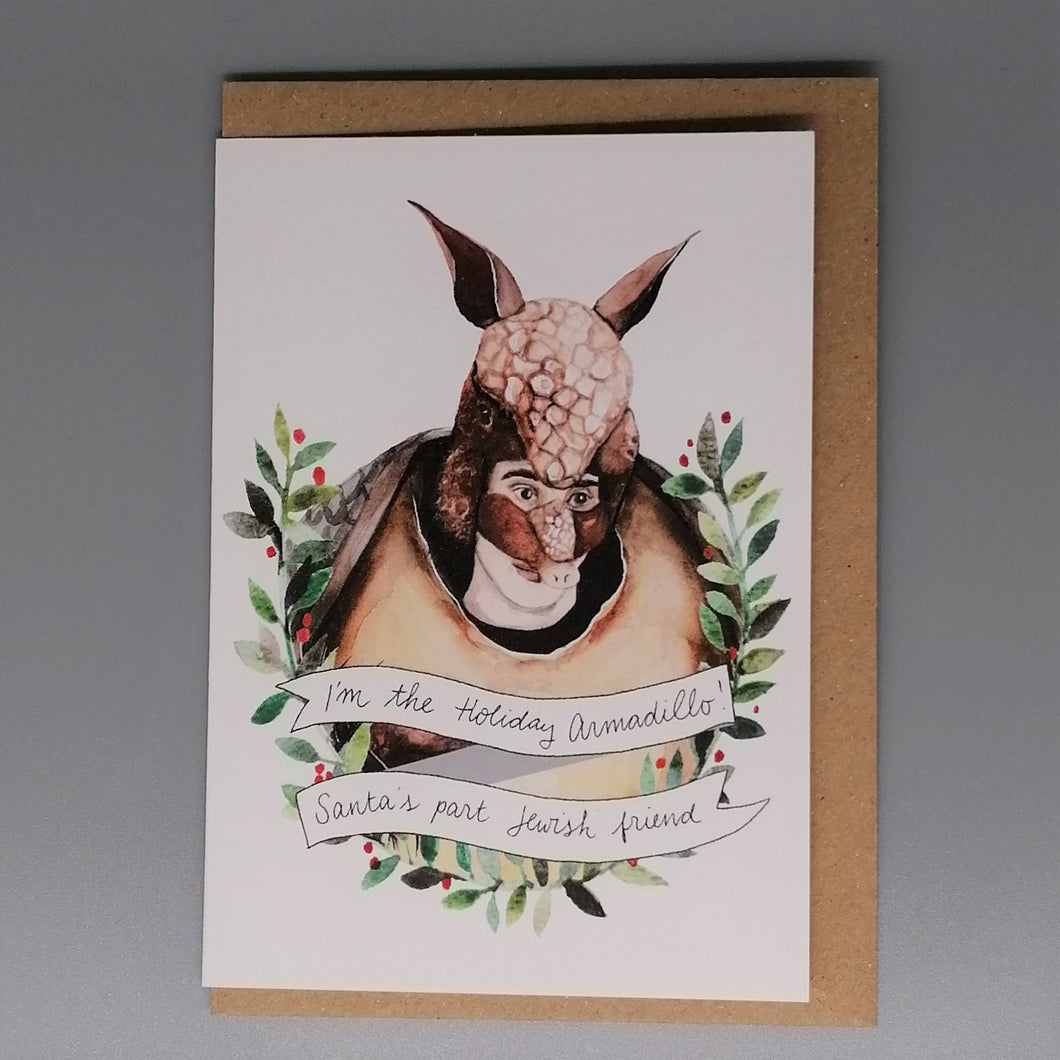 Oh Gosh Cindy! Holiday Armadillo Christmas Card from  Indie Edinburgh