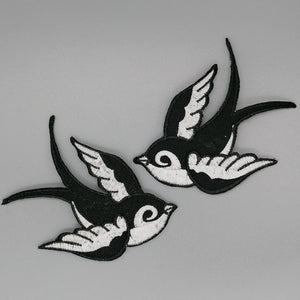 Swallow Iron On Patch Pair available from Indie Edinburgh