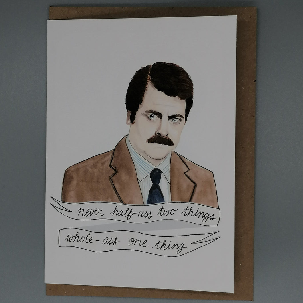 Oh Gosh Cindy! Parks & Rec Ron Swanson Card from Indie Edinburgh