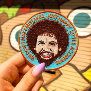 Bob Ross Iron On Patch available from Indie Edinburgh