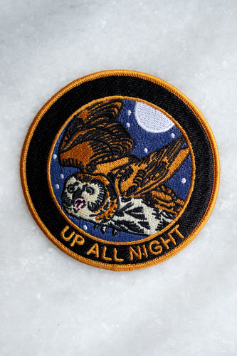 Stay Home Club Up All Night iron on patch from Indie Edinburgh