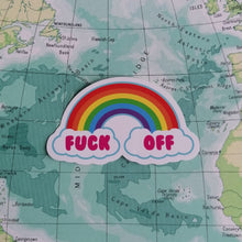 Load image into Gallery viewer, F*ck Off Rainbow Vinyl Sticker available from Indie Edinburgh