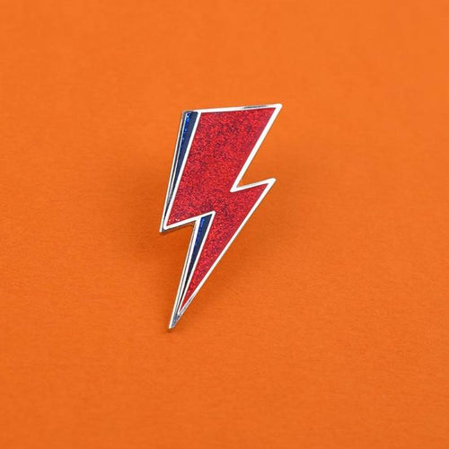 Glitter Bowie Lightning Bolt Enamel Pin available from Indie Edinburgh