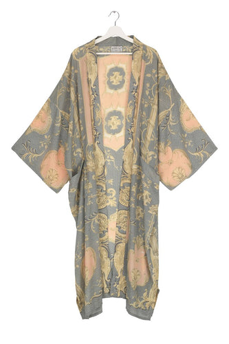 One Hundred Stars Rococo Grey Long Crepe Kimono from Indie Edinburgh