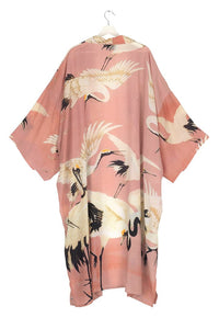 One Hundred Stars Stork Plaster Pink Long Kimono from Indie Edinburgh