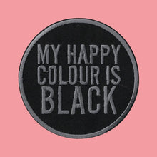 Load image into Gallery viewer, Luna Mcr My Happy Colour Is Black Iron On Patch from Indie Edinburgh
