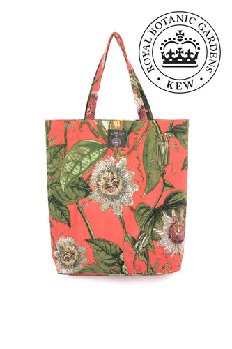 One Hundred Stars  x Kew RBG Coral Passion Flower Tote Bag from Indie Edinburgh