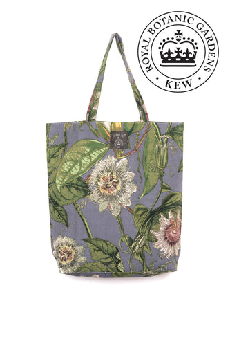 One Hundred Stars x Kew RBG Grey Passion Flower Tote Bag available from Indie Edinburgh