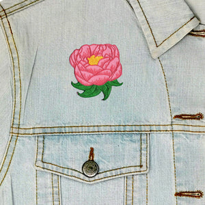 Peony Iron On Patch available from Indie Edinburgh