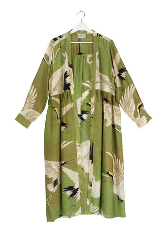 One Hundred Stars Green Stork Duster Coat from Indie Edinburgh