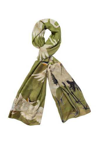 One Hundred Stars Green Stork Scarf from Indie Edinburgh
