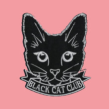 Load image into Gallery viewer, Black Cat Club Iron On Patch available from Indie Edinburgh