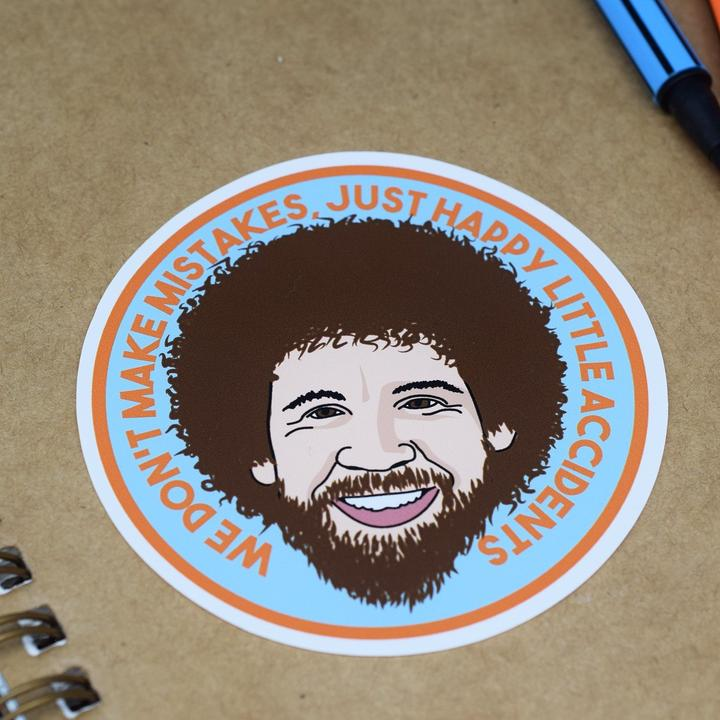 Bob Ross Vinyl Sticker available from Indie Edinburgh