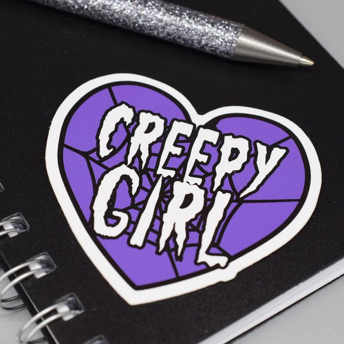 Creepy Girl Vinyl Sticker available from Indie Edinburgh