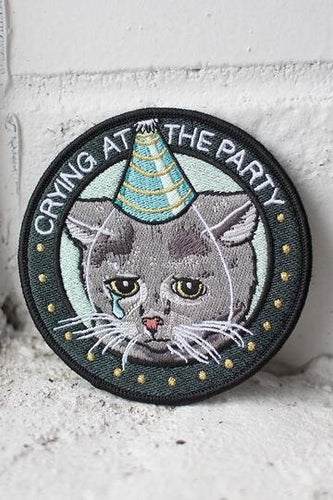 Stay Home Club Crying At The Party Cat Patch from Indie Edinburgh