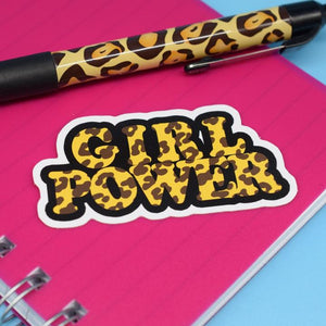 Leopard Girl Power Vinyl Sticker available from Indie Edinburgh