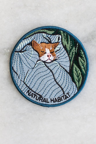 Stay Home Club Natural Habitat cat iron on patch from Indie Edinburgh