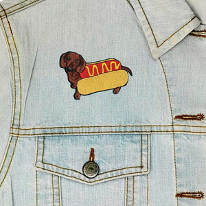 Hot Dog Iron On Patch available from Indie Edinburgh