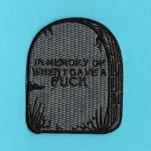 Load image into Gallery viewer, In Memory Of When I Gave A F*ck Iron On Patch from Indie Edinburgh