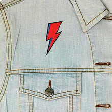 Load image into Gallery viewer, Bowie Lightning Iron On Patch available from Indie Edinburgh