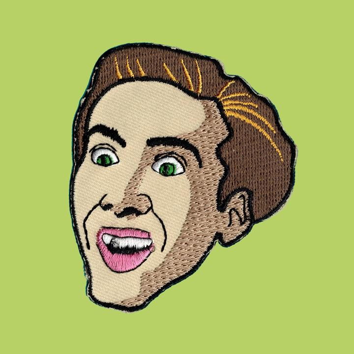 Nic Cage Iron On Patch available from Indie Edinburgh
